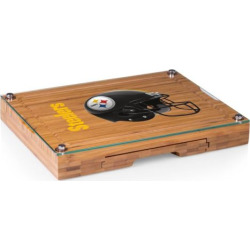 Picnic Time Pittsburgh Steelers Concerto Bamboo Cutting Board and Cheese Tools Set, Brown