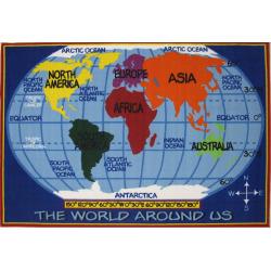 """Fun Rugs Fun Time Kids World Map Rug – 2'7″ x 3'11"""", Multicolor"""