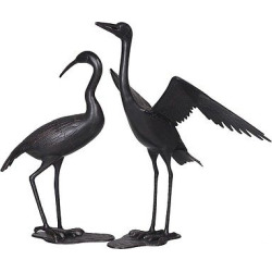 36″ By 41″ Crane Pair Made From Cast Aluminum With Antique Bronze Finish – Slate Black – Sunjoy