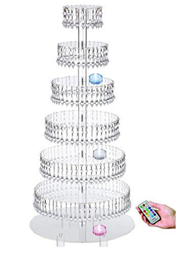 Pre-Installed Crystal Beads- 7 Tier Acrylic Cupcake Tower Stand with Hanging Crystal Bead-wedding Party Cake Tower (7 Tier With Feet+LED Light)