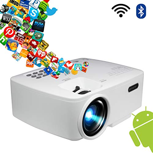 Projector, Smart Android WiFi Bluetooth Video Beam, by BeVision, 220 ANSI Lumen 180″ Max for Movie Games, Quiet Fan, Built-in Speaker with HDMI VGA USB AV Ports
