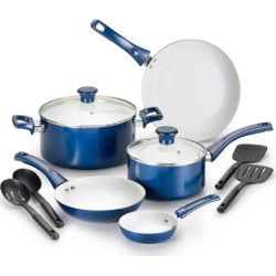 T-Fal Inspirations 11-pc. Ceramic Cookware Set, Blue