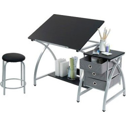 Comet Craft Table with Stool – Silver/Black, White