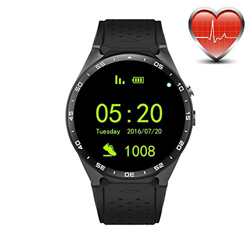 KW88 3G WiFi Smart Watch Cell Phone All-in-One Bluetooth Android 5.1 SIM Card GPS,Camera,Heart Rate Monitor,Google map (Black/Tarnish)