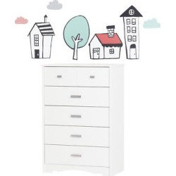 Tiara 5 – Drawer Chest with Night Garden House In The Hood Wall Decals – Pure White and Pink – South Shore