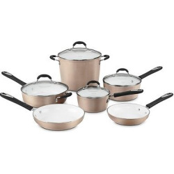 Cuisinart Elements Nonstick 10 Piece Cookware Set w/cover – Champagne 59-10CH, Grey