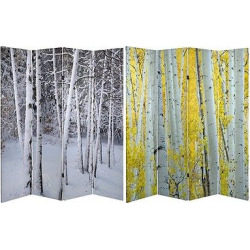 Birch Trees Double Sided Room Divider – Oriental Furniture, Multi-Colored