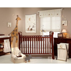 NoJo Dreamy Nights 4-pc. Crib Set, Beig/Green (Beig/Khaki)