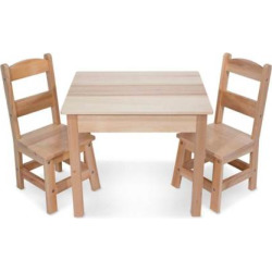 Melissa and Doug Wooden Table and Chairs Set, Multicolor