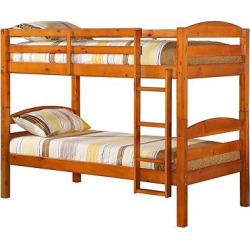Solid Wood Twin Over Twin Bunk Bed – Honey Kissed – Saracina Home
