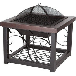 Fire Sense Hammer Tone Bronze Finish Cocktail Table Fire Pit, Brown
