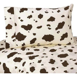 Sweet Jojo Designs Wild West Sheet Set- Cow Print (Twin), Brown Off-White