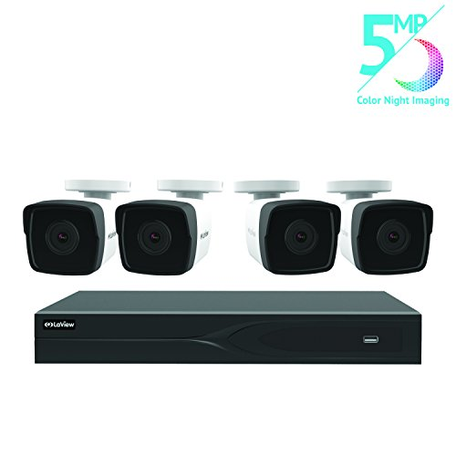 LaView 8 Channel 5MP Business and Home Security Cameras System 2TB HDD Surveillance DVR with 4 5MP Color Night Vision Bullet Cameras