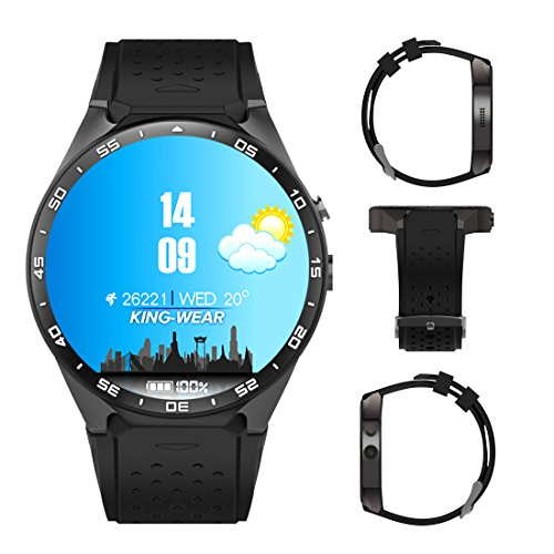 Kingwear 3G Smart Watch, Android 5.1 OS, Quad Core 2.0MP Camera Bluetooth Nano SIM Card Soket WiFi GPS Heart Rate Monitor (Black+Silver)