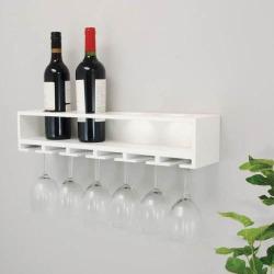 Kiera Grace Claret Wine Bottle & Glass Rack Wall Shelf, White
