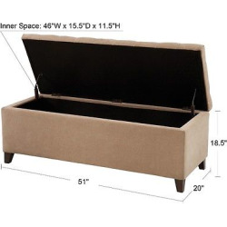 Shandra Bench Storage Ottoman with Tufted Top – Sand (Brown)