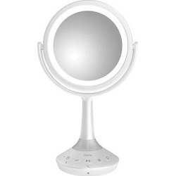 iHome 6 Double Sided White Vanity Mirror with Bluetooth and Usb Charging