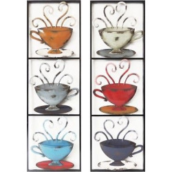 Assortment- Wall Decor-3 Tea Cups in Rectangle – Home Source, Red