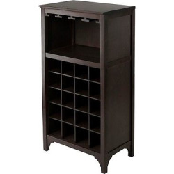 20 Bottle Glass Holder Wine Cabinet Wood/Coffee – Winsome