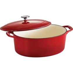 Tramontina Enameled Cast-Iron 7-qt. Oval Dutch Oven, Red