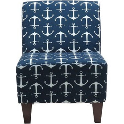Penelope Armless Slipper Chair -Premier Sailor Oxford, Blue/White