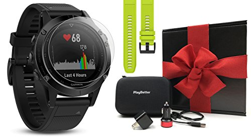 Garmin Fenix 5 Sapphire (Black/Black Band) Gift Box Bundle   Includes Extra Band (Yellow), Glass Screen Protector, PlayBetter USB Car/Wall Adapter, Protective Case   Multi-Sport GPS Watch, Wrist HR