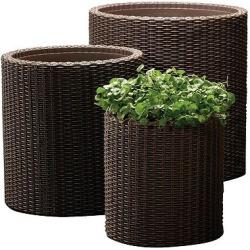 Cylinder Rattan Planter Set Of 3 – Brown – Keter, Espresso Brown