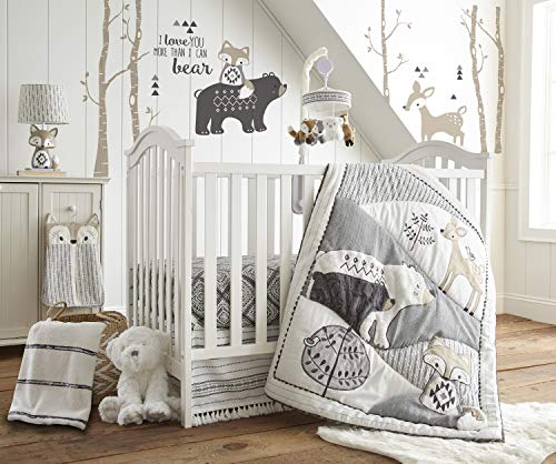 levtex baby bailey charcoal and white woodland themed 5 piece crib bedding - Allshopathome-Best Price Comparison Website,Compare Prices & Save