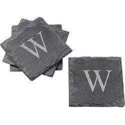Cathy's Concepts Personalized Slate Coaster Set of 4 – W, Black