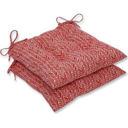 Outdoor/Indoor Herringbone Red Wrought Iron Seat Cushion Set of 2 – Pillow Perfect
