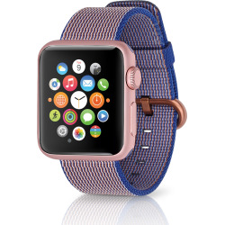 Apple Watch Sport 38mm Rose Gold Case w/ Woven Nylon Band – Royal Blue (Refurbished)
