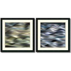 Undulation Wavy 2-piece Framed Wall Art Set, Black