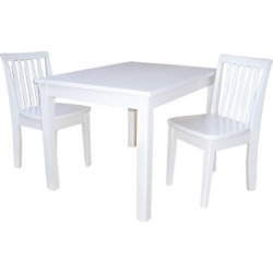 International Concepts 3 Piece Kids Table and Chair Set – Linen White, Dove White