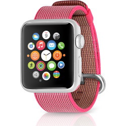Apple Watch Sport 38mm Silver Case w/ Woven Nylon Band – Pink (Refurbished)