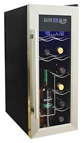 NutriChef 12 Bottle Thermoelectric Wine Cooler / Chiller   Counter Top Red And White Wine Cellar   FreeStanding Refrigerator, Quiet Operation Fridge   Stainless Steel