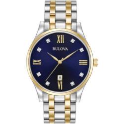 Bulova Men's Classic Diamond Two Tone Stainless Steel Watch – 98D130, multicolor