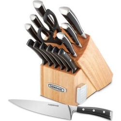 Farberware Edgekeeper 14pc Forged Triple Rivet Cutlery Set with Built-In Knife Sharpener, Black