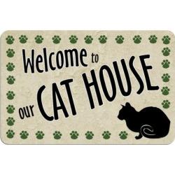 Paw-Print Cat Floor Mat, Multicolor