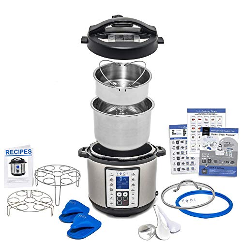 The Total Package 9-in-1 Multi-Use Instant Programmable Pressure Cooker, with Endless Recipes, Deluxe Accessory Kit and 6 Quart Stainless Steel Inner Pot by Yedi Houseware