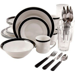 Gibson Essex 32pc Dinnerware Silverware Combo Set White/Black