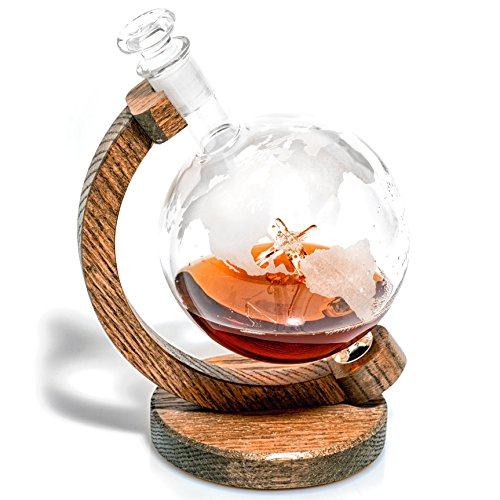 Etched Globe Liquor Decanter – Scotch Whiskey Decanter – 1000ml Glass Decanter for Alcohol – Vodka, Bourbon, Rum, Wine, Tequila or Even Mouthwash – P51 Mustang (Prestige Decanters)