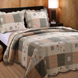 Sedona Patchwork Quilt Set, Brown