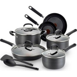 T-fal OptiCook Hard Anodized C037SC Titanium Nonstick Dishwasher Safe Cookware 12 Pc Set Gray, Dark Heather