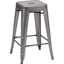 Rustic Industrial Bistro Style 26 Counter Stool – Gunmetal (Grey) (Set of 2) – ZM Home