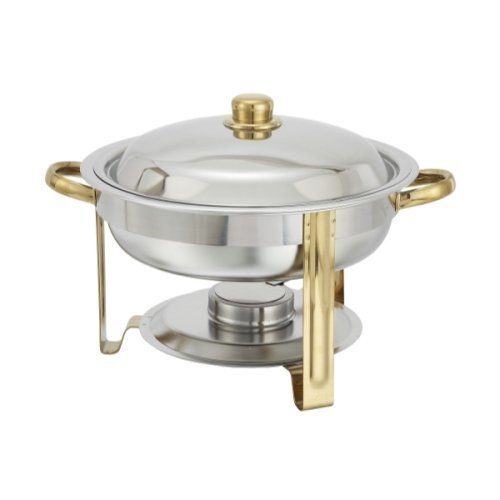 Malibu Chafer 203 – 4 qt Round Stainless Steel W/ Gold Accents Winco, Set of 3