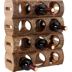 Danya B Stackable Three Bottle Wine Holder Log Acacia Wood with Bark, Brown