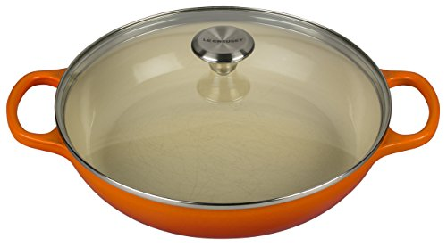 Le Creuset of America Enameled Cast Iron Buffet Casserole with Glass Lid, 3 1/2 quart, Flame