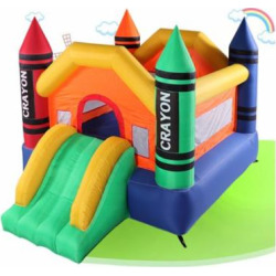 Magic Castle Inflatable Crayon Bounce House for Kids Inflateable Bounce Jumper Slide Without Air Blower