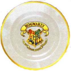 Official Hogwarts School of Witchcraft & Wizardry 24k Gold Rimmed Plate Imported Harry Potter