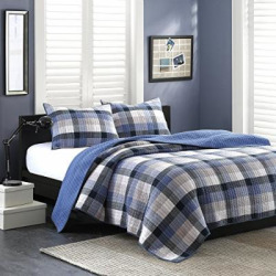 Ink+Ivy Maddox King Size Teen Boys Quilt Bedding Set – Navy, Black, Plaid – 3 Piece Boys Bedding Quilt Coverlets – 100% Cotton Yarn And Cotton Percale Bed Quilts Quilted Coverlet